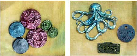left, plastic buttons, right, charms and metal stampings, both painted with Precious Metal Effects paint