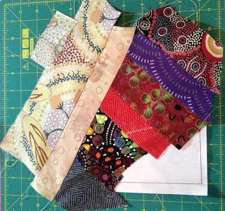 Judy Gula string piecing the sides of quarter block template