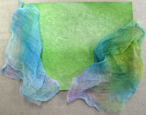 Gelatos on fabric and cheesecloth