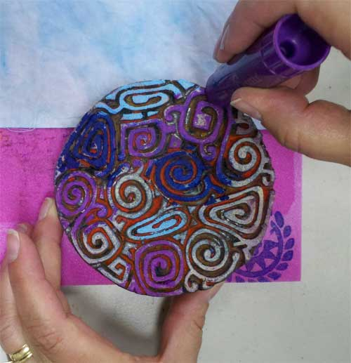 Selectively applying different colors of Gelatos to a wooden printing block