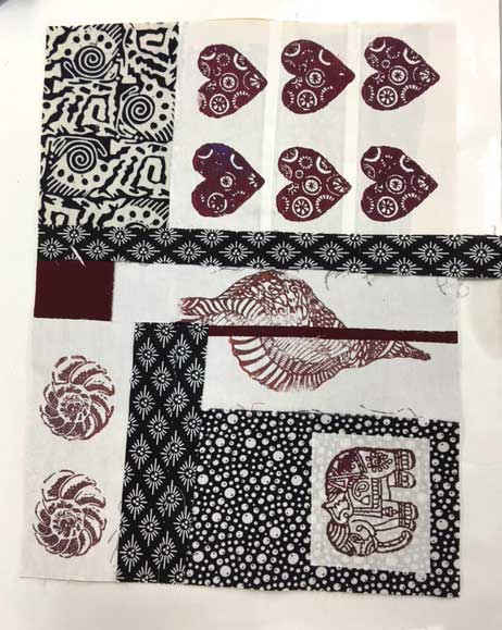 Student work, Woodblock Printed Collage Art Quilt class on June 11 at Artistic Artifacts in Alexandria, VA