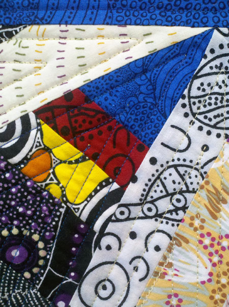 Detail, Australian fabric string pieced quilt by Judy Gula