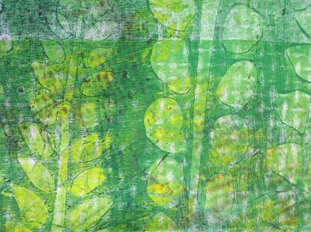 Detail, Forest Floor fabric by Judy Gula