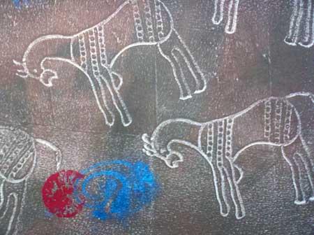 detail, Petroglyph theme fabric by Judy Gula