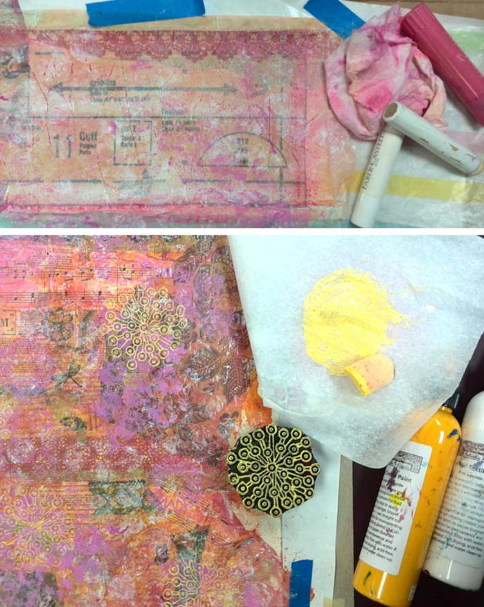 Sharon McDonagh adding paint, block printing and Gelatos to her paper cloth