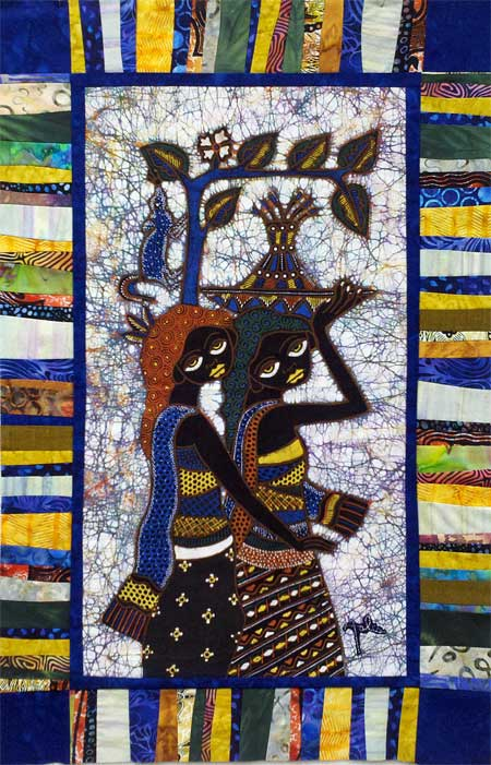2 Girl Friends art quilt by Judy Gula