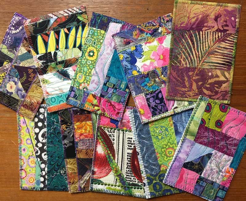 Fabric postcards by Judy Gula of Artistic Artifacts