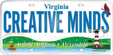 2015 Row by Row Artistic Artifacts fabric license plate: Creative Minds