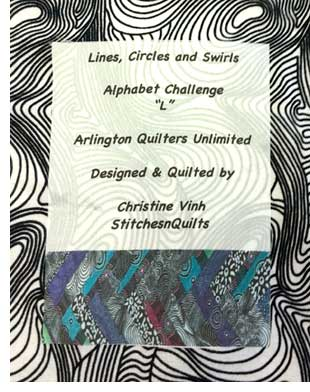 Chris Vinh quilt label, Arlington QU Alphabet Challenge