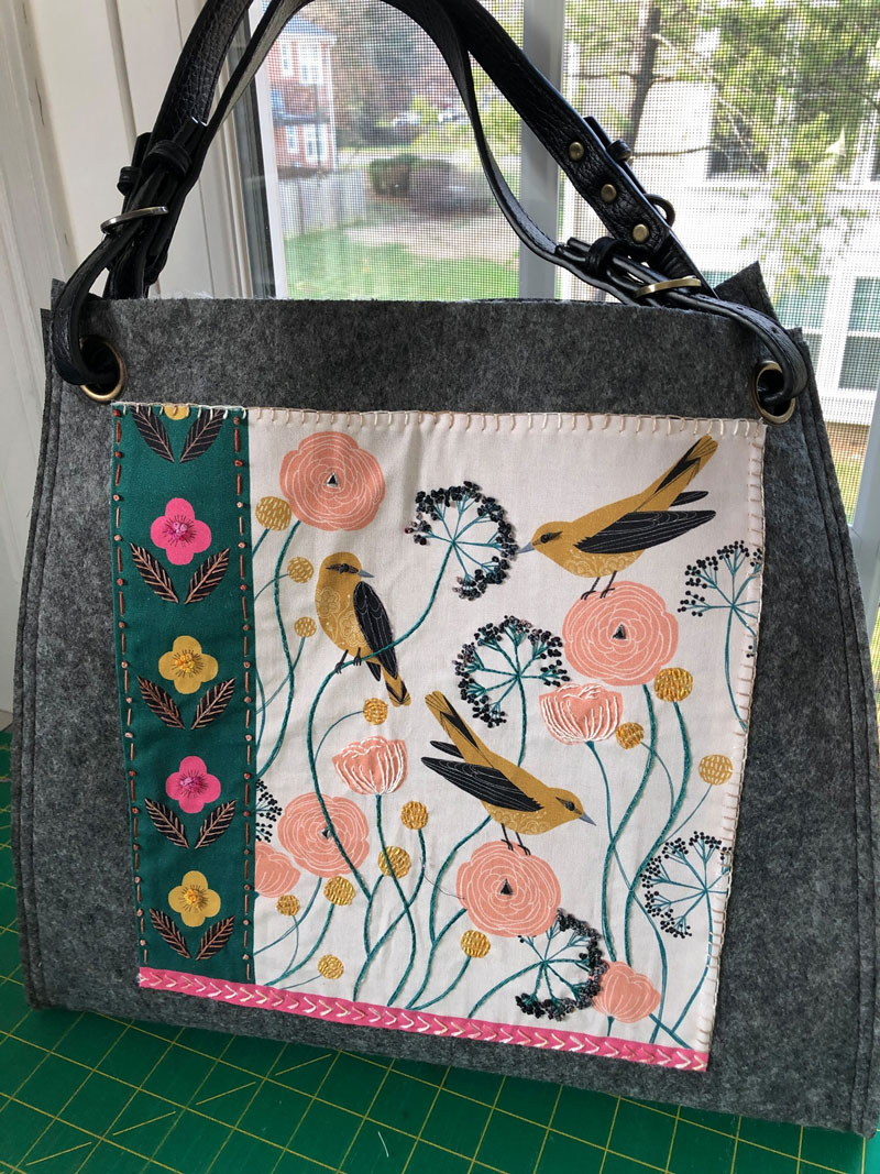 Completed Anna tote made from Aster & Anne kit by Christine Vinh