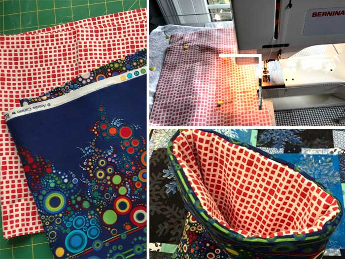 Chris Vinh creating stocking cuff and lining