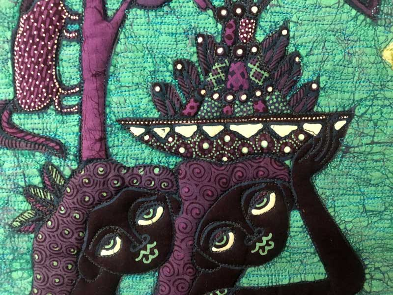 Detail, What Could Have Been, quilt by Elayne Logan Currie featuring a batik panel by Jaka
