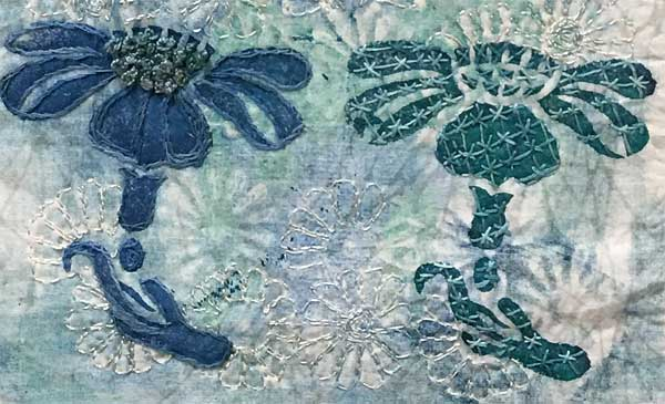 Detail, Orchid Block Printed Art quilt