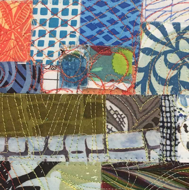 Free-motion stitching on Judy Gula's fabric postcards