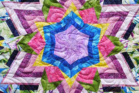 Detail, Kaleidescope of Colors, first prize, group quilts, 2015 Quilt Odyssey