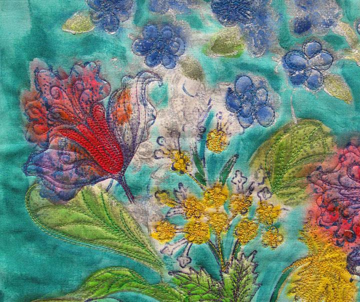 Stewart Gill textile paint highlights Judy Gula's flower garden rubbings