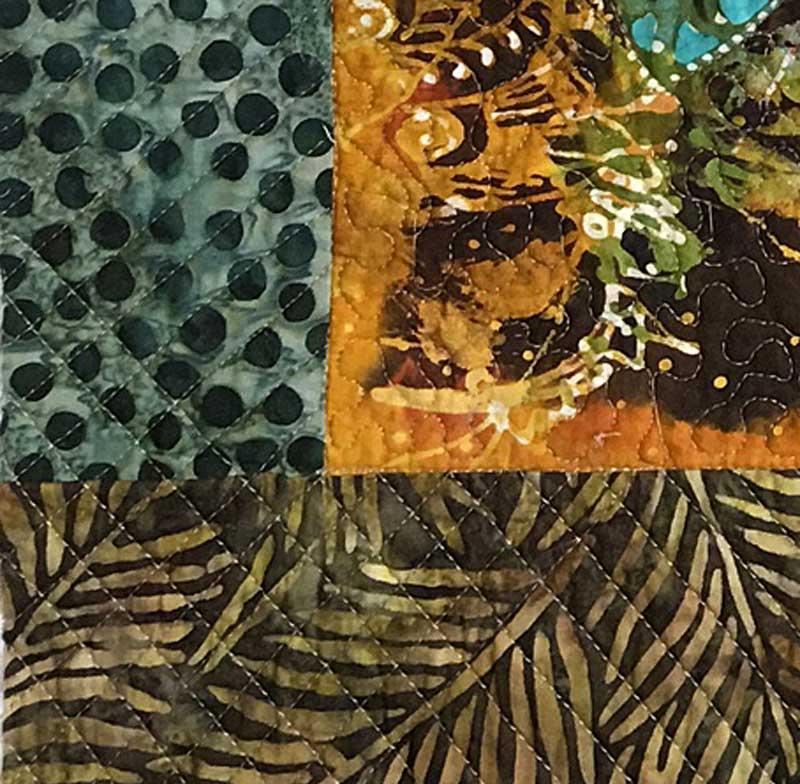 Detail, Small red floral batik panel by Hari Agung bordered with Batik Tambal Exclusive Batik