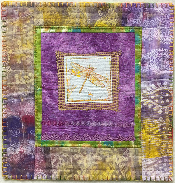 Dragonfly Block Printed Art Quilt
