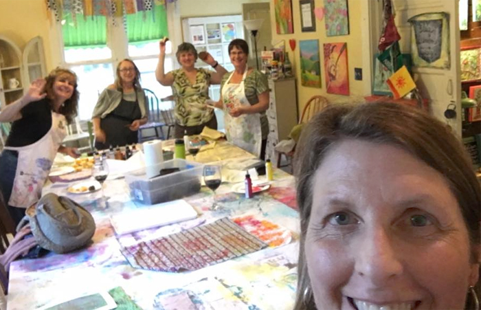 Fiber artists having fun at the Blue Denim Studio at The Dragonfly Shops & Gardens in Orange, CA