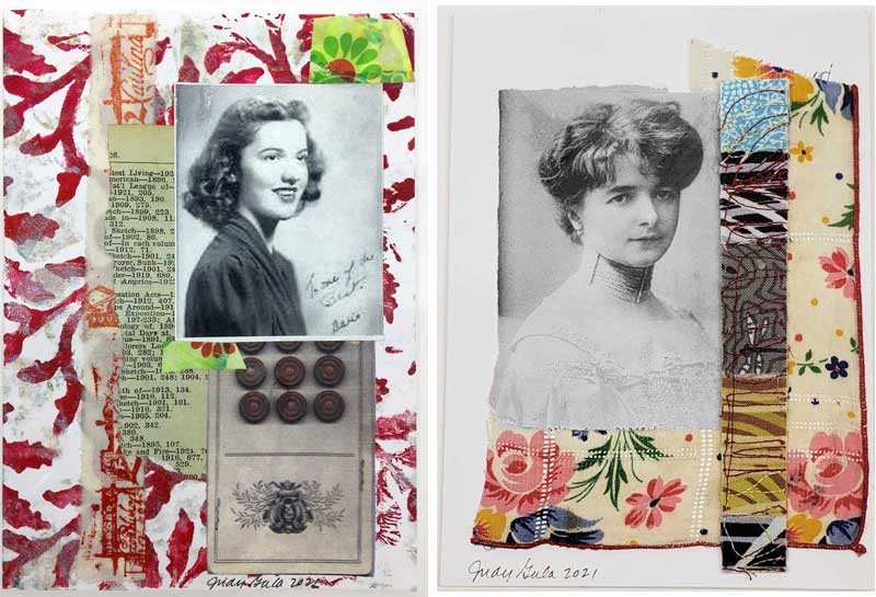 Mixed media greeting cards using ephemera and more created by Judy Gula of Artistic Artifacts