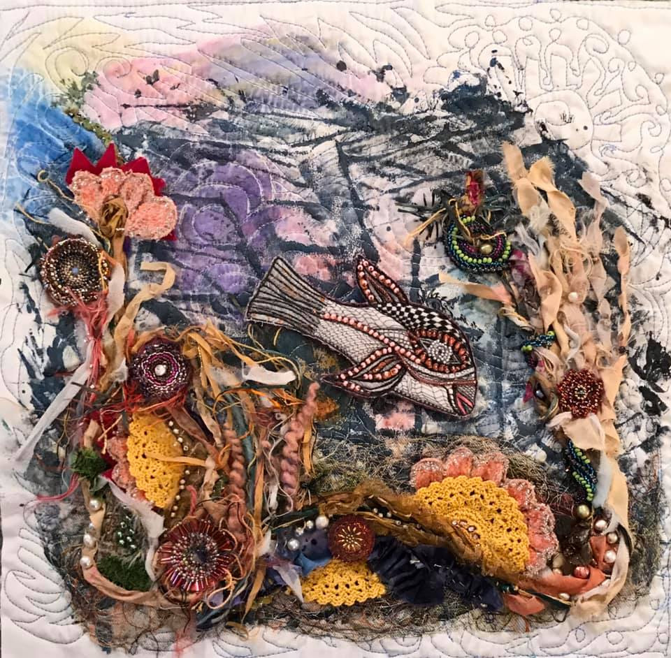 Etta Stewart fish fiber collage
