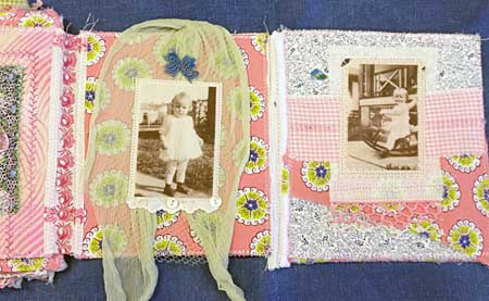 Fabric collage photo book by Judy Gula, inside pages