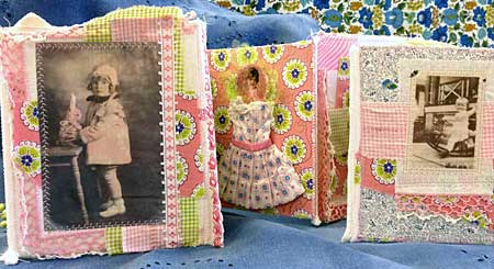 Fabric collage photo book by Judy Gula, standing in 3-D