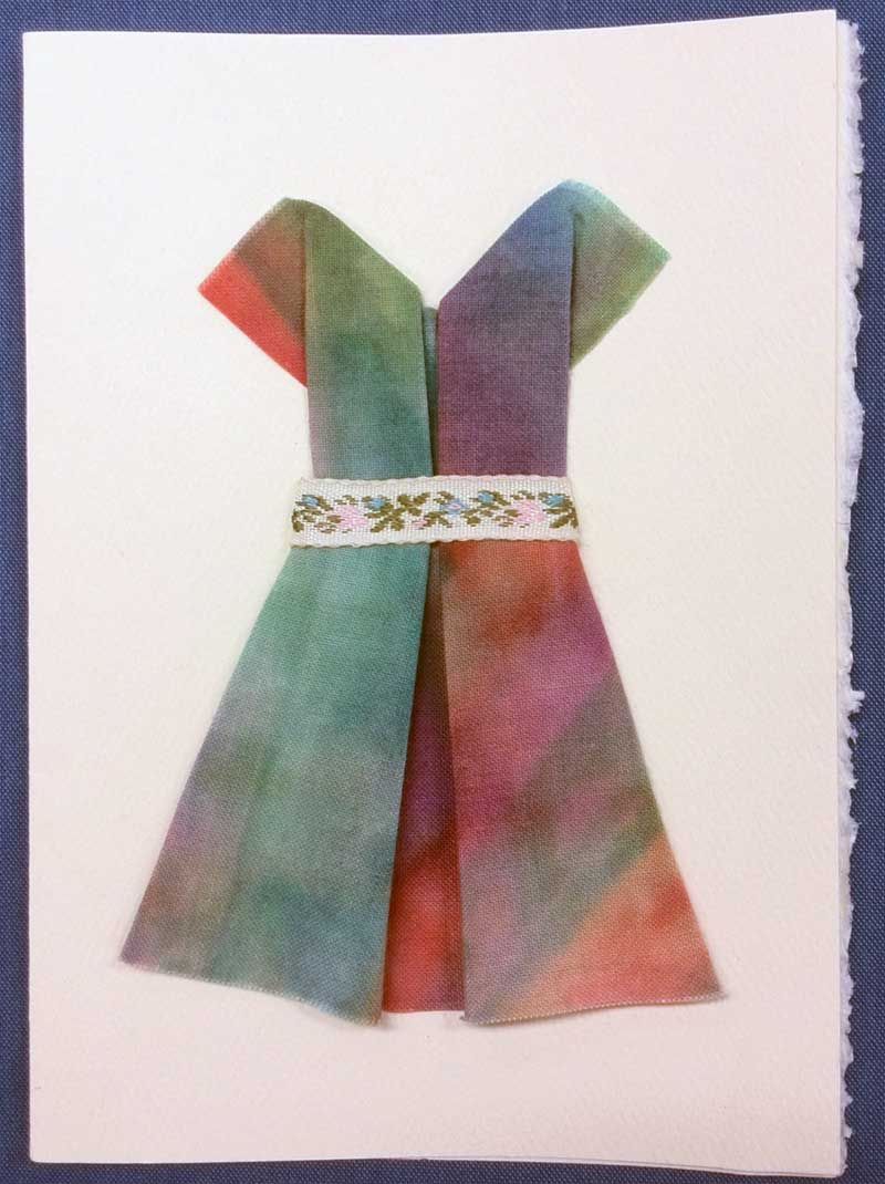 Origami fabric card created by Linda Morgan  using Terial Magic treated fabric