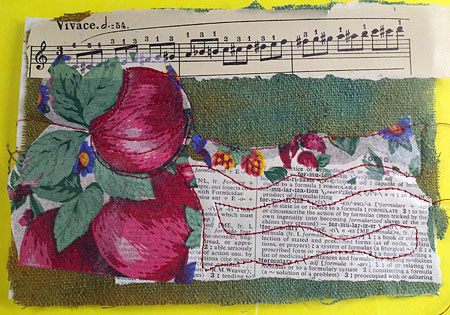 Fabric and paper postcard, fused and sealed, after initial stitching