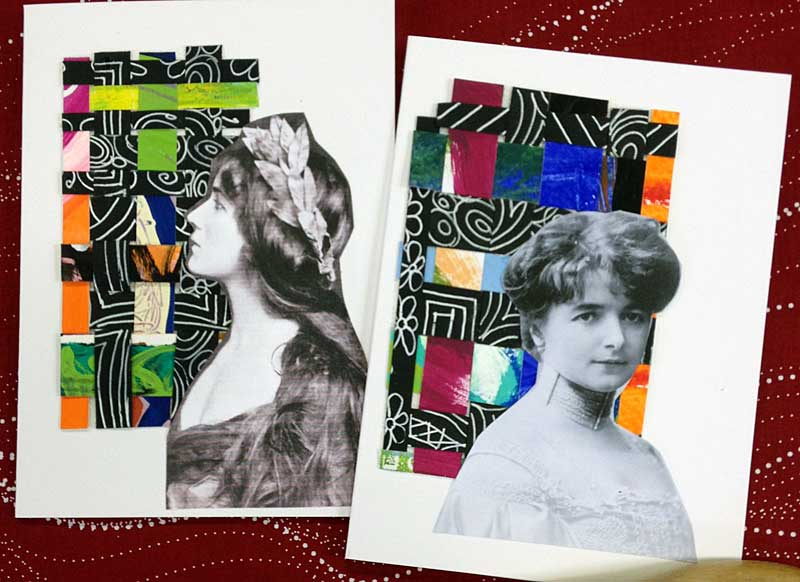 Woven paper and ephemera greeting cards created by Judy Gula of Artistic Artifacts srcset=