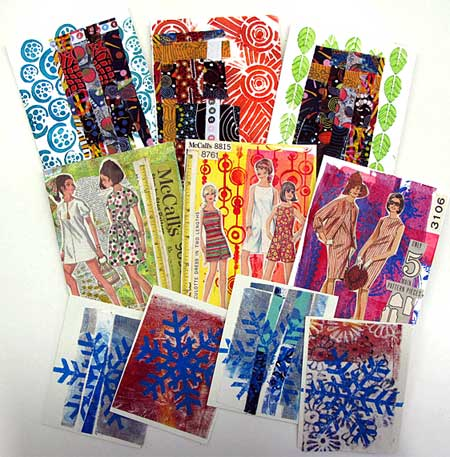 Completed mixed media collage cards by Judy Gula of Artistic Artifacts