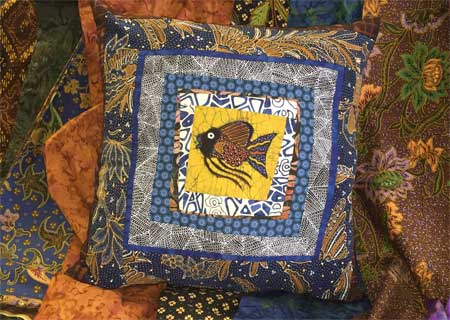 Completed tulis batik fish pillow