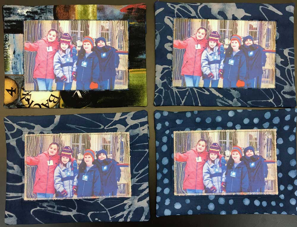 Photo stitched quiltlets, a holiday gift to my son, nephew and nieces