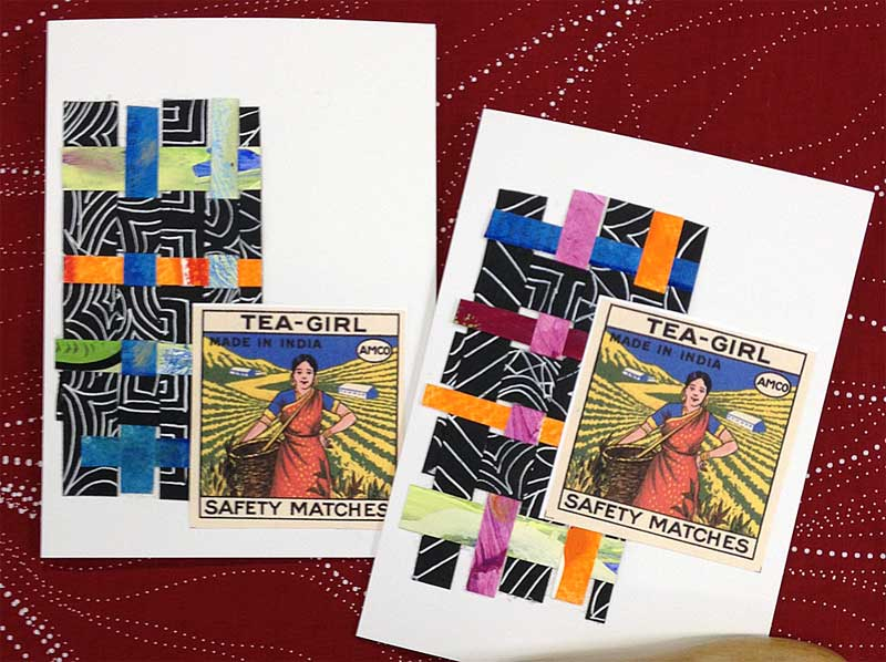 Woven paper and ephemera greeting cards created by Judy Gula of Artistic Artifacts