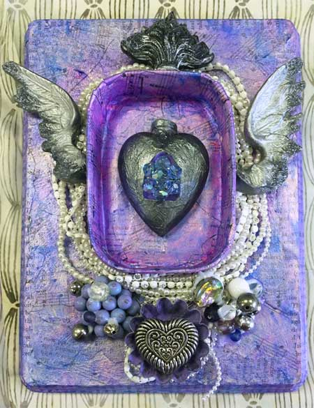 Finished art by Kelsey Grandy from A View to My Heart, an Artistic Artifacts class led by Judy Gula using the beautiful Relics and Artifacts line of craft blanks by Sandra Evertson