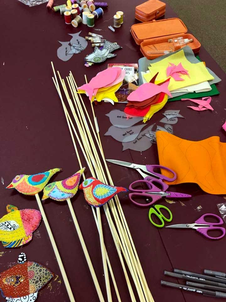 Provided supplies to create WonderFil Fish or Fowl at Artistic Artifacts