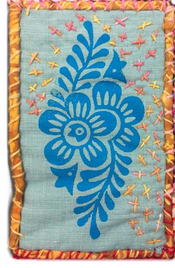 Judy Gula flower quiltlet, block printed and stitched