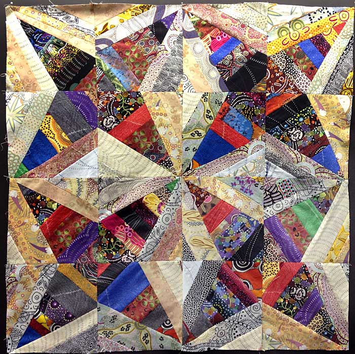 Judy Gula string pieced Aussie fabric quilt top, before borders