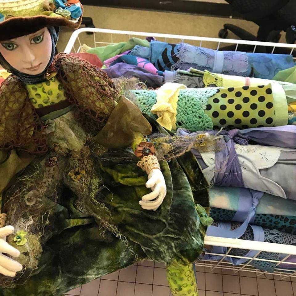 The Frog Princess with fiber collage inspiration packs put together by Judy Gula of Artistic Artifacts
