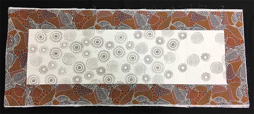 Block printed table runner bordered in Australian fabric, prebound