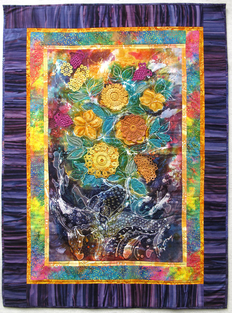 Judy Gula yellow flower batik panel quilt
