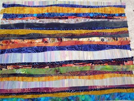 Reverse side of seamed strips