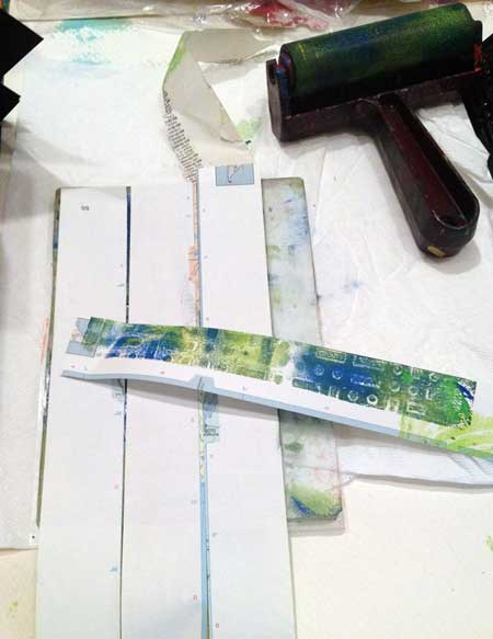 Gelli Printed white paper strips