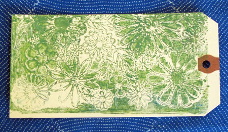 Tag monoprinted using a Gelli Arts Gel Printing Plate