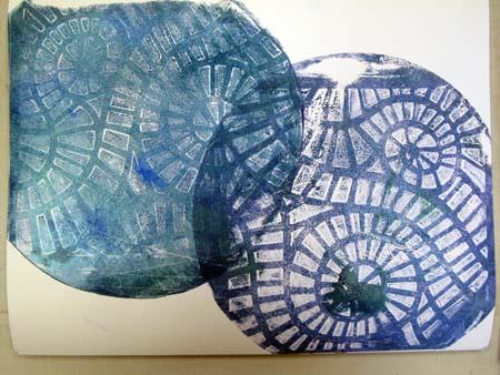 Another circular print layered atop the first