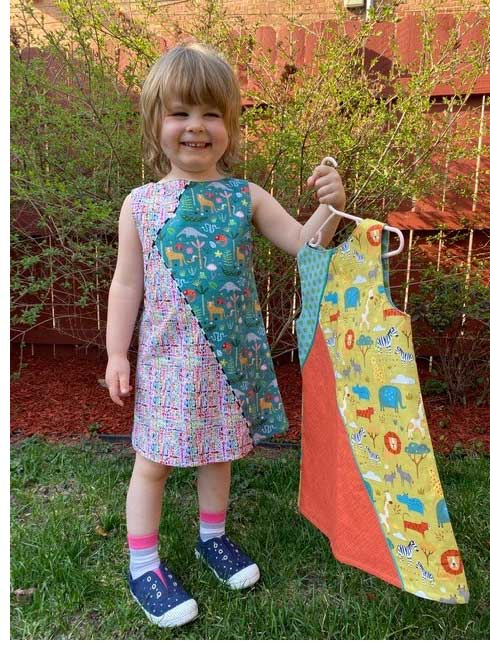 Two dress versions of the Geo Dress, Tunic & Leggings pattern by Olive Ann Designs