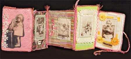 Fabric collage photo book by Judy Gula, photo side