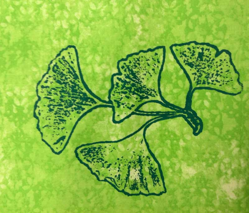 Screen printed Ginkgo leaf
