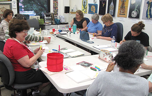 "Participants in the Artistic Artifacts ""How Do I Use This?"" Gelatos demonstration on July 10, 2014"