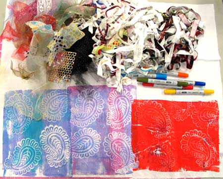 Supplies to create prayer flags